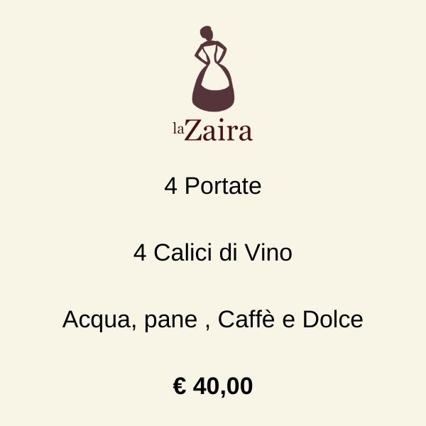 4 Portate 4 Calici Acqua, pane , Caffè e Dolce € 40,00 (1)
